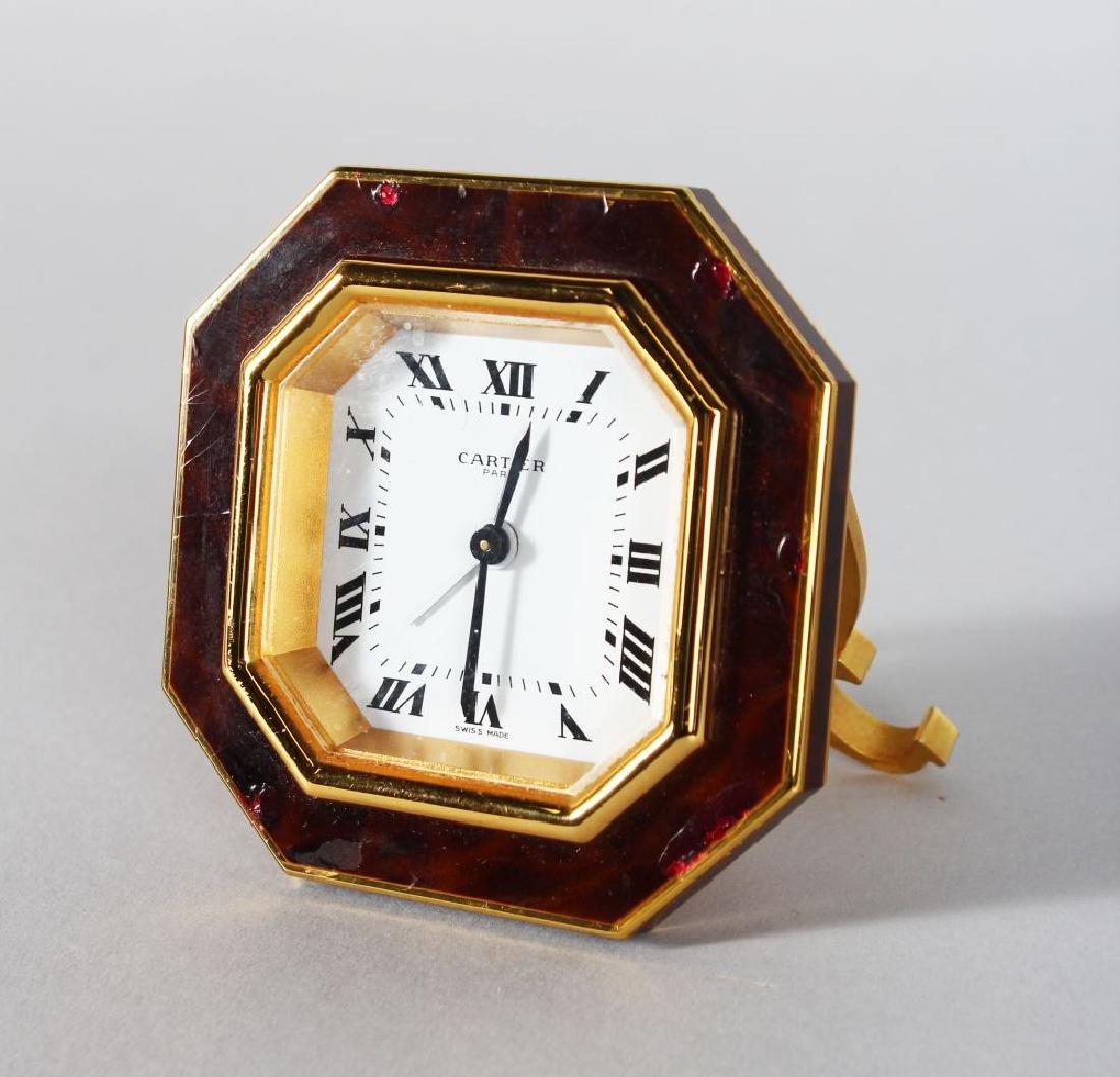 A CARTIER OF PARIS HEXAGONAL EASEL CLOCK, 2.75in high,