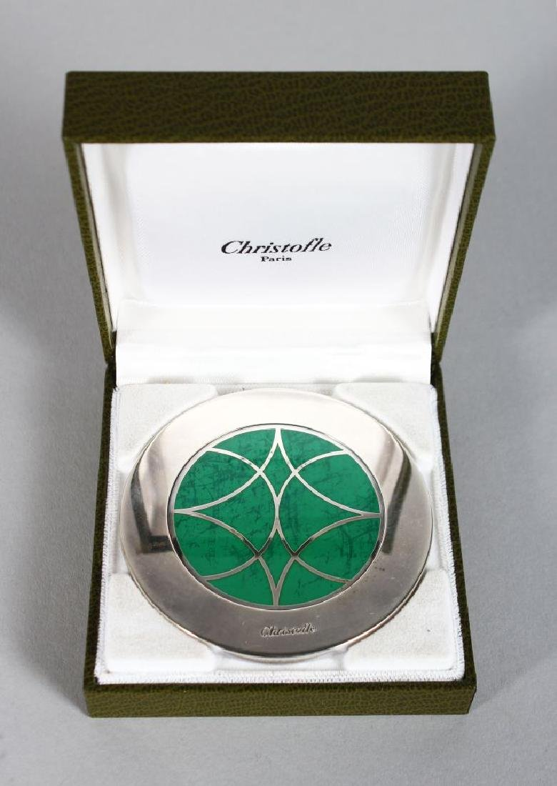 A CHRISTOFLE SILVER AND JADE MIRROR, in leather box.