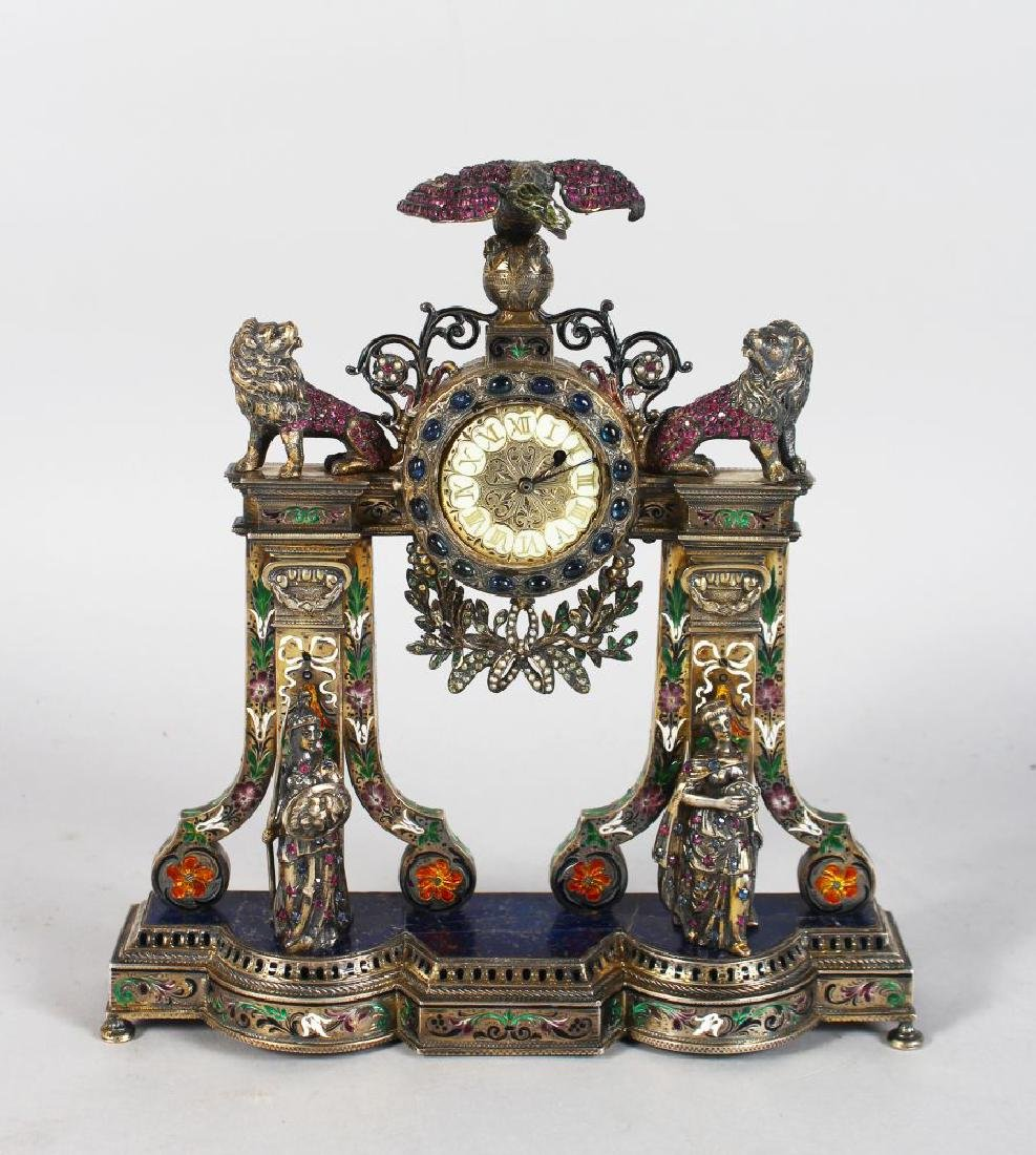A SUPERB FRENCH SILVER CASE CLOCK BY LE GRAND DIEPPE,