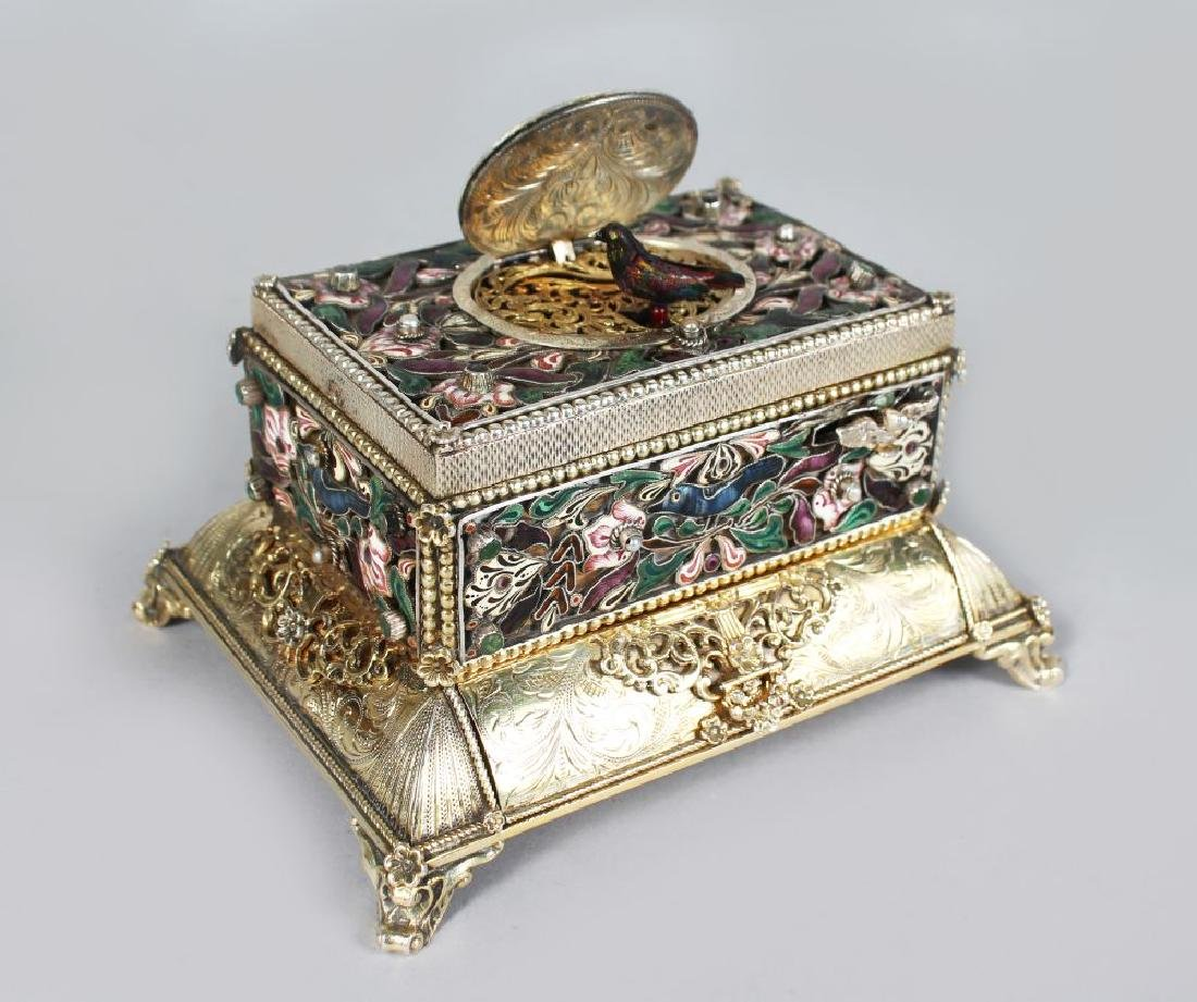 A SUPERB 19TH CENTURY GERMAN SILVER AND ENAMEL TABLE