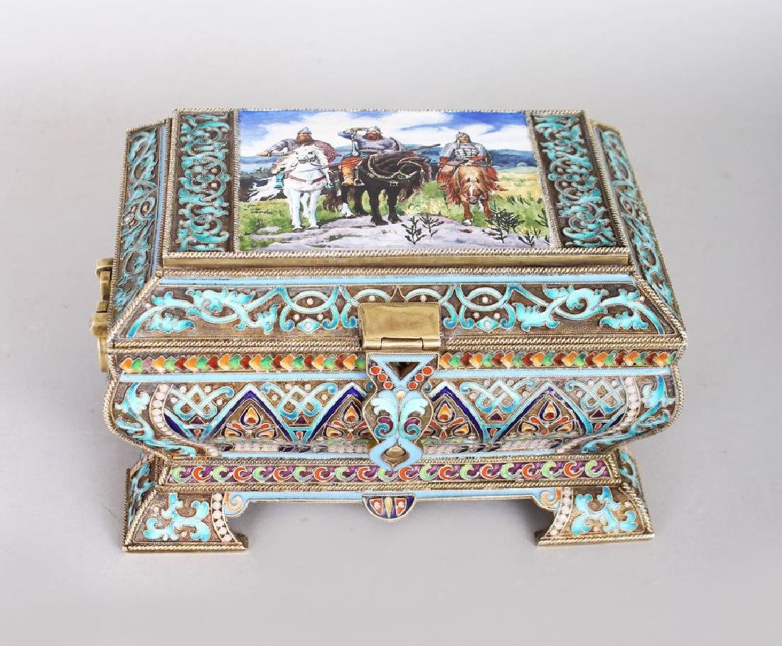 A GOOD RUSSIAN SILVER AND ENAMEL DECORATED CASKET, the