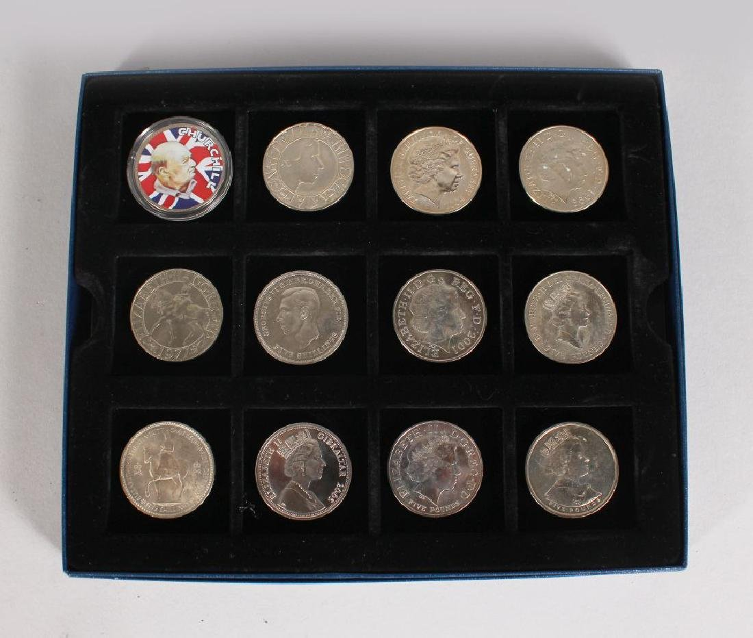 A CASE OF 12 SILVER CROWNS AND COMMONWEALTH CROWNS,