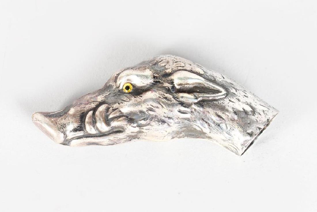 A NOVELTY BOARS HEAD CANE HANDLE