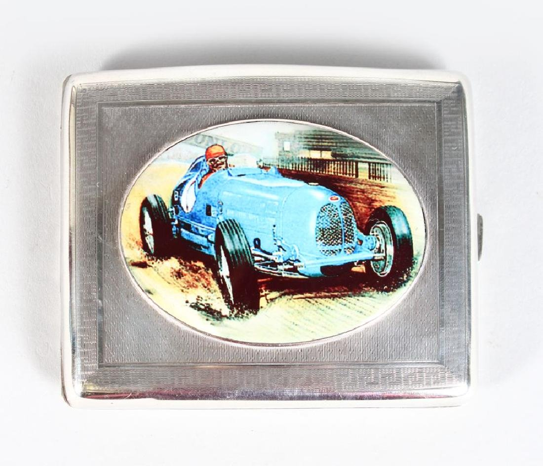 A SILVER CIGARETTE CASE, Chester 1924, the lid with an