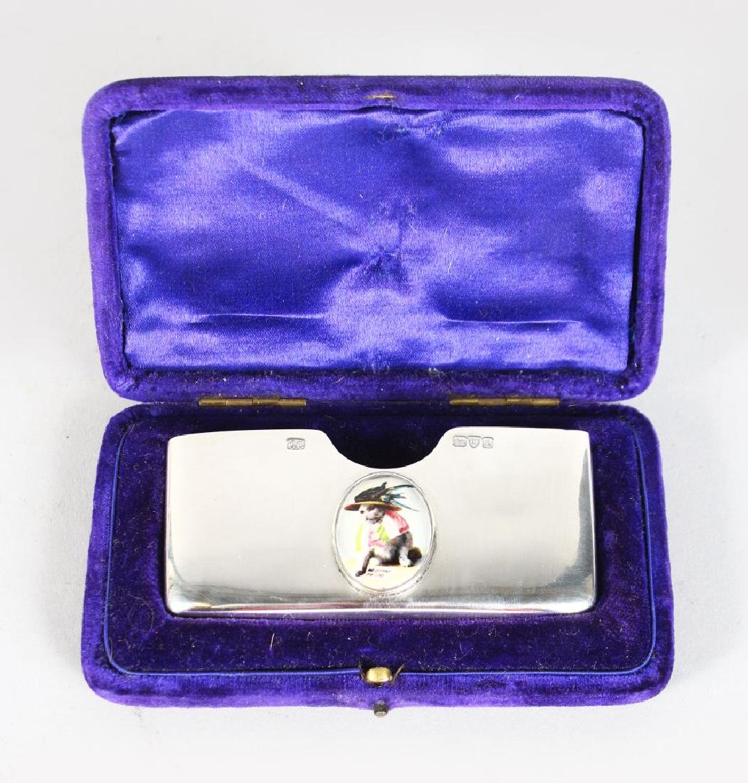 A SILVER CARD CASE, Chester 1901, the lid with a cat