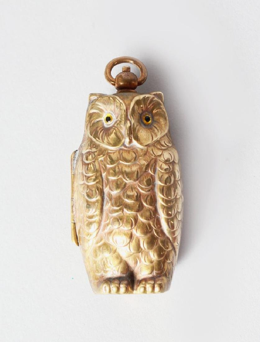 A BRASS OWL DOUBLE SOVEREIGN CASE