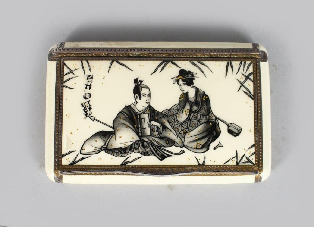 A RARE SILVER AND ENAMEL JAPANESE DESIGN SNUFF BOX