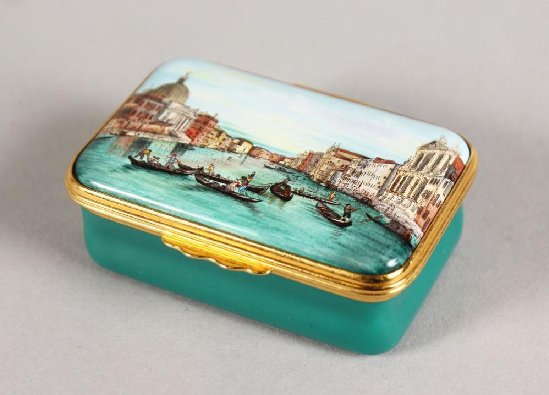 A HALCYON DAYS CANALETTO COMMEMORATIVE SNUFF BOX