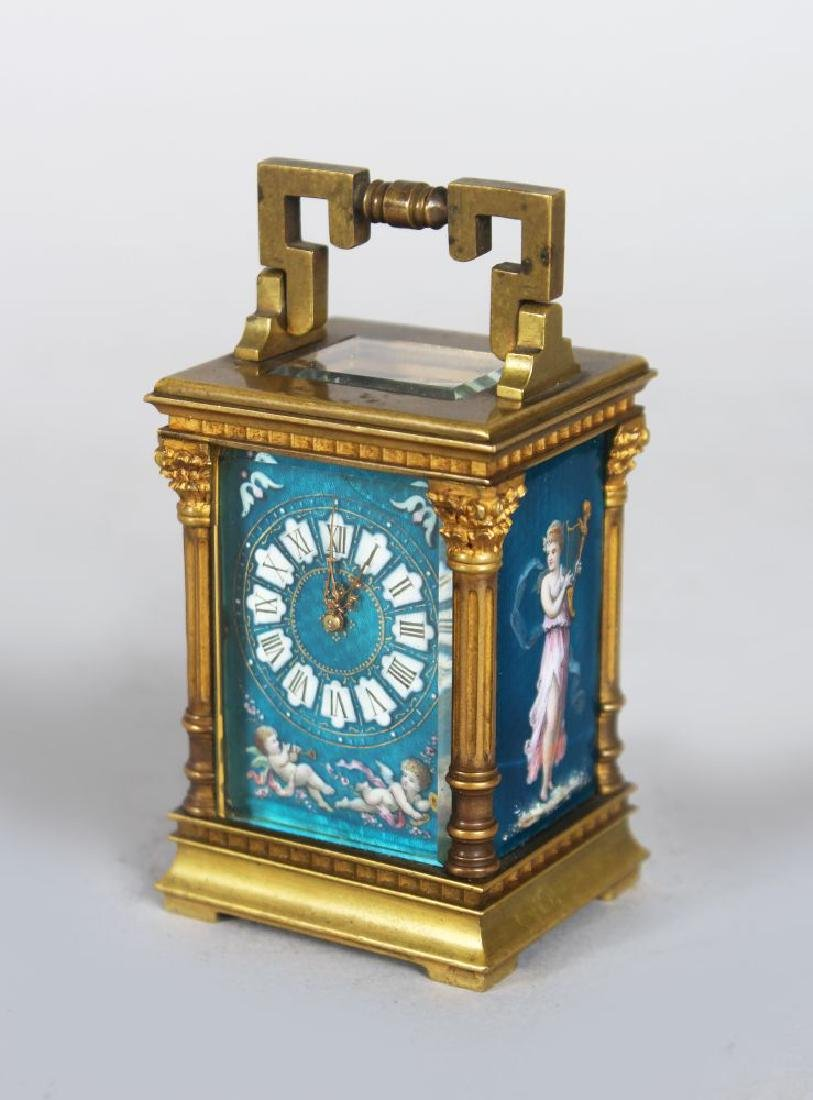 A GOOD SMALL FRENCH BRASS CARRIAGE CLOCK, with blue
