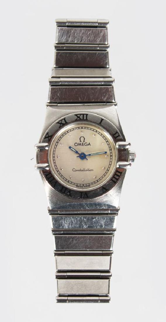 A LADIES OMEGA CONSTELLATION WATCH, with steel bracelet
