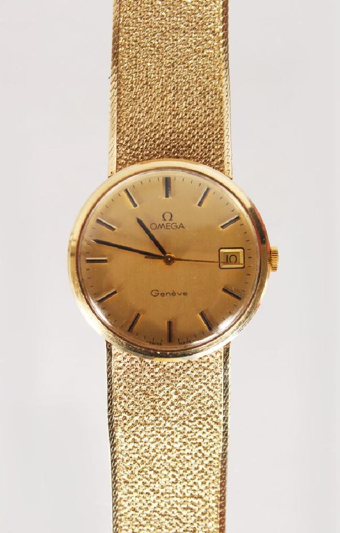 AN OMEGA 9ct GOLD WATCH, with bracelet strap