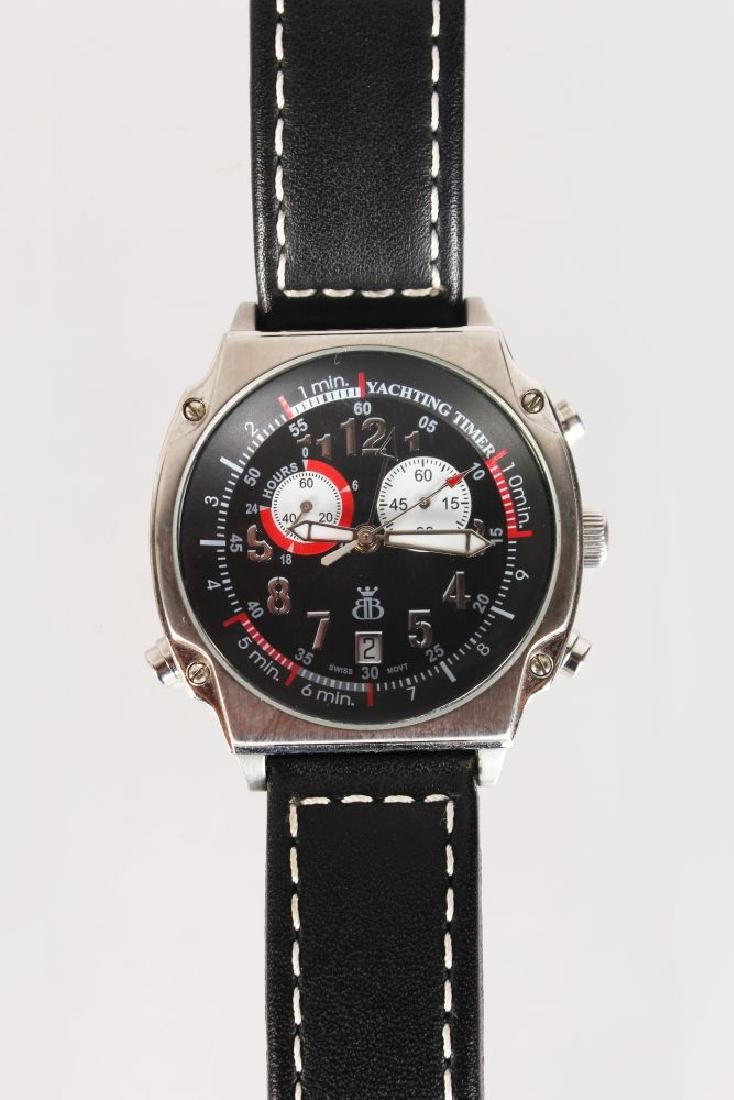 A YACHTING WATCH, with leather strap
