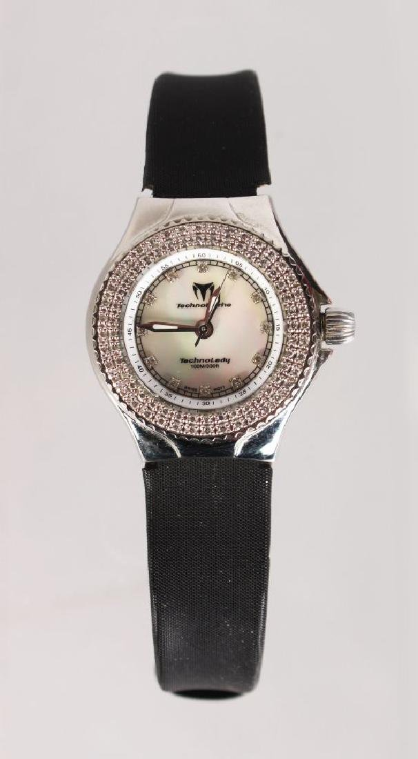 A LADIES TECHNO MARINE DIAMOND AND MOTHER-OF-PEARL