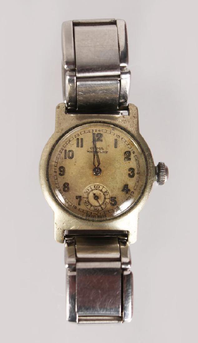 AN OLMA WRIST WATCH CIRCA 1930, with bracelet strap