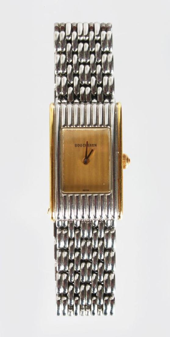 A BOUCHERON STAINLESS STEEL WRIST WATCH, No: AH30861.