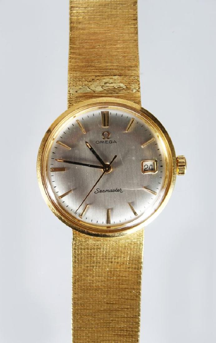 AN OMEGA SEAMASTER 18ct GOLD WRIST WATCH, in a Mappin &