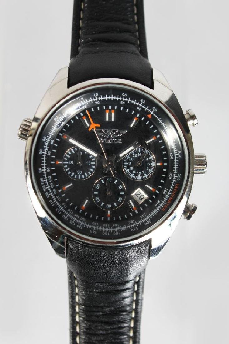 AN AVIATOR STAINLESS STEEL WRIST WATCH, with leather