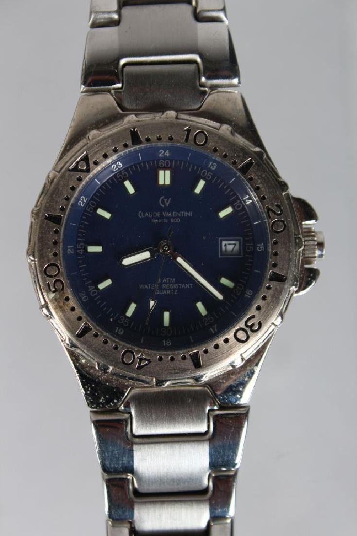 A CLAUDE VALENTINI STAINLESS STEEL WRIST WATCH, with - 2