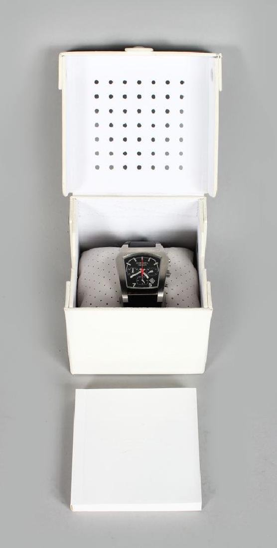 DIESEL, metal watch with leather strap in white box