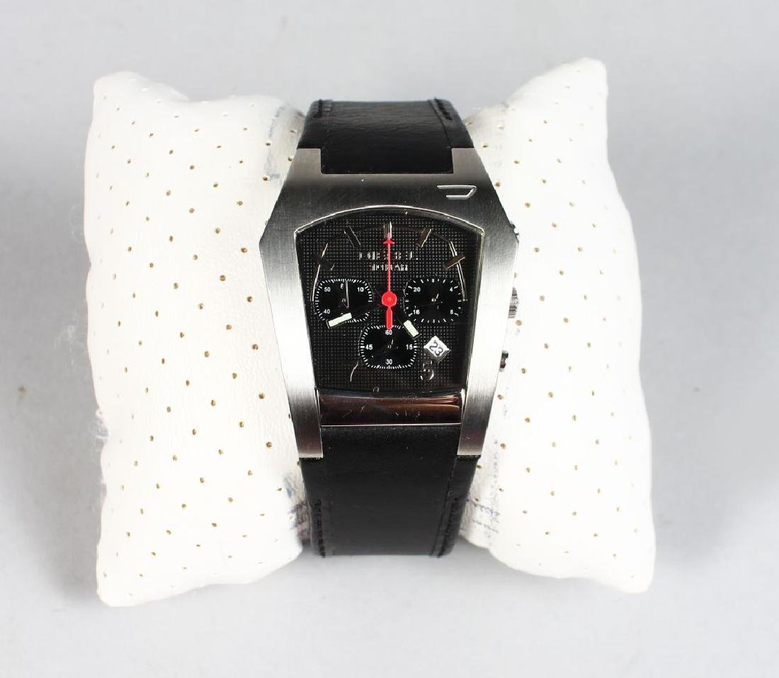 DIESEL, metal watch with leather strap in white box - 2