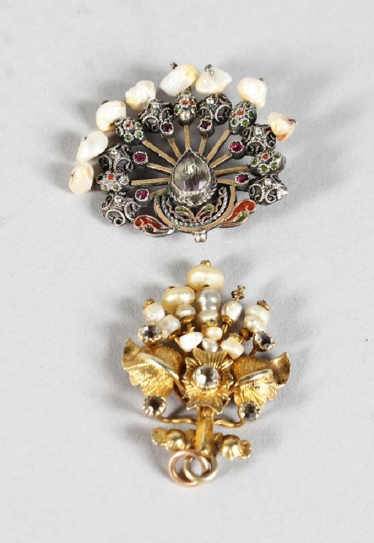 TWO EDWARDIAN BROOCHES, set with seed pearls