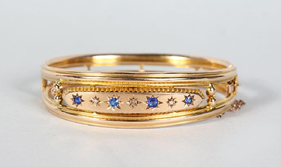 A GOOD VICTORIAN GOLD BRACELET, set with diamonds and