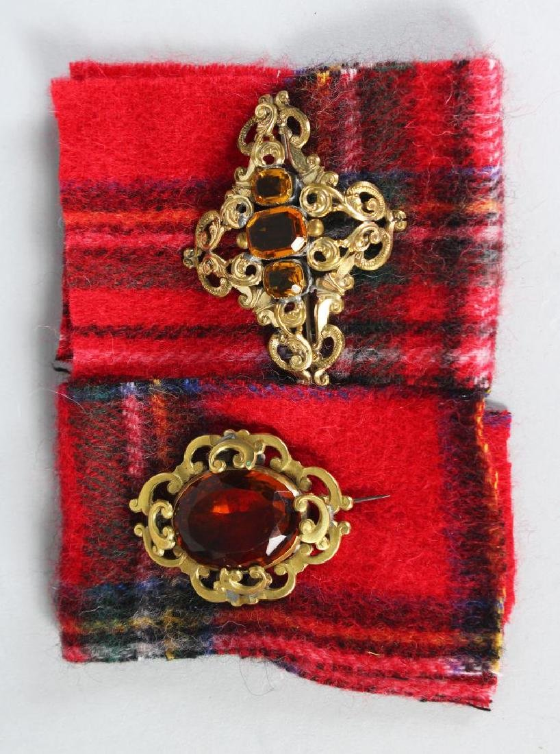 TWO SCOTTISH GILT PIERCED BROOCHES