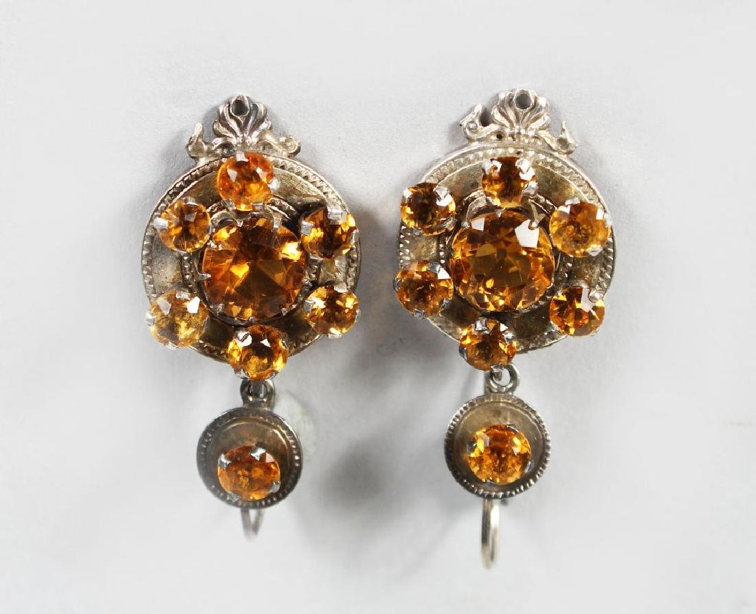 A PAIR OF SCOTTISH SILVER DROP EARRINGS