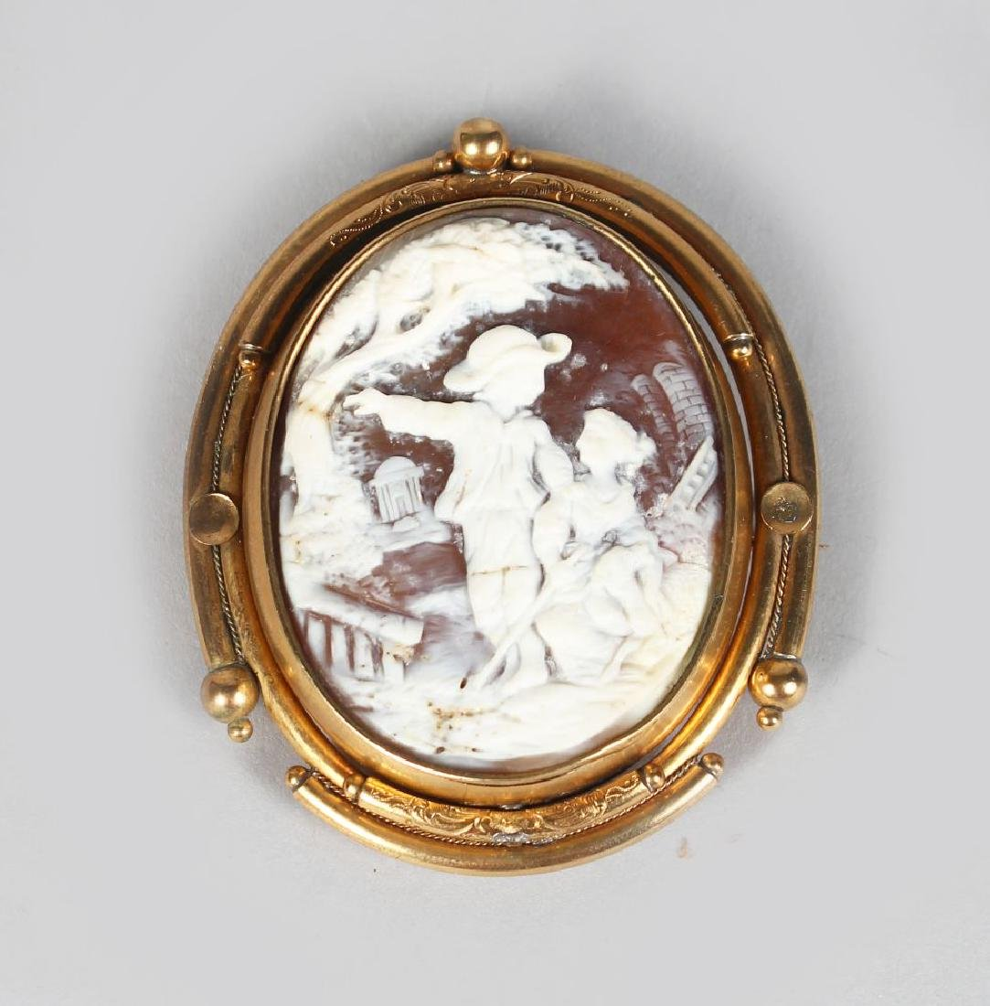 A GOOD LARGE VICTORIAN OVAL CAMEO BROOCH, a young boy