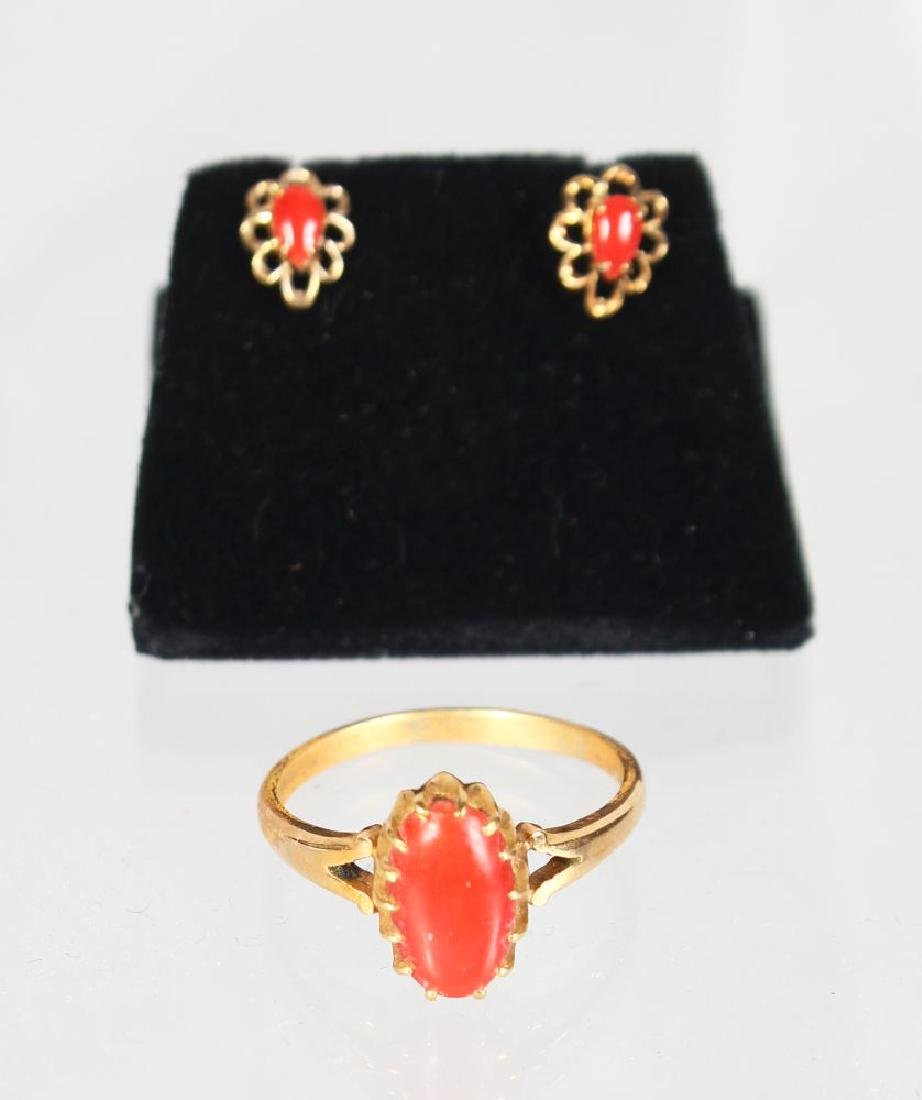 A PAIR OF EARRINGS AND MATCHING RING