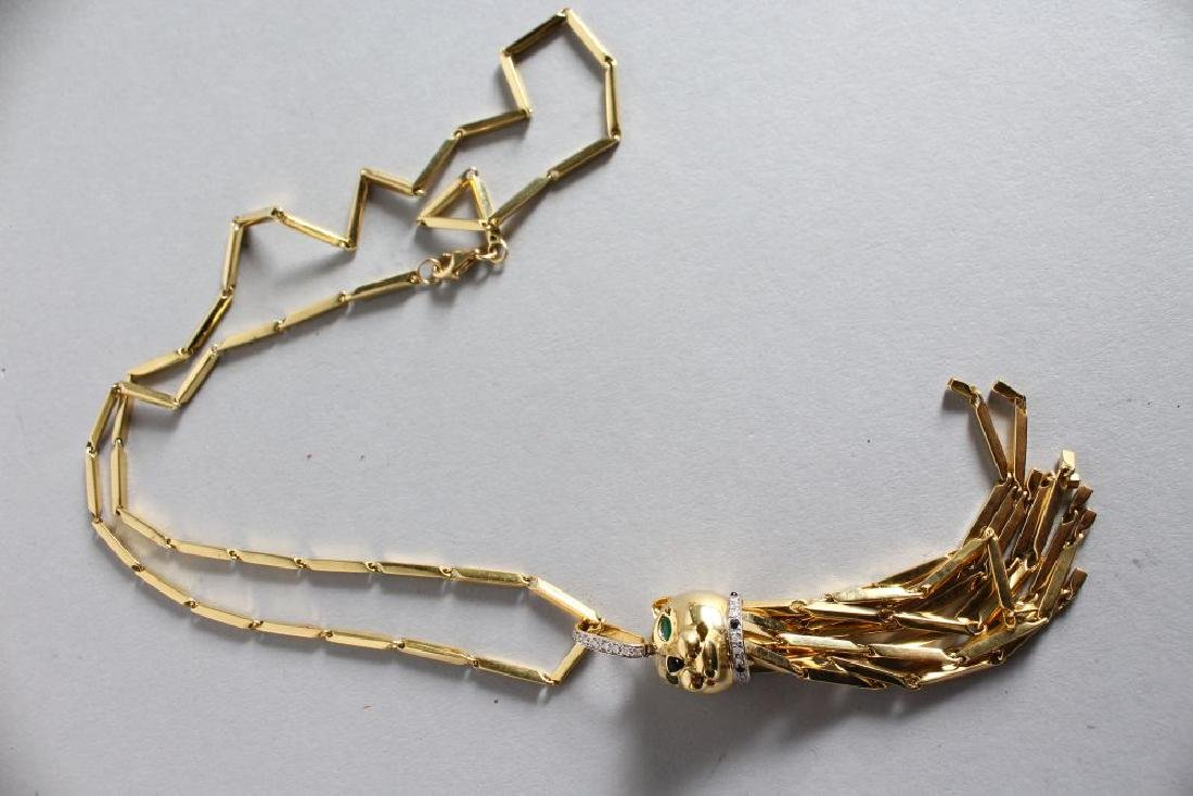 "A GOOD 18ct GOLD ""CARTIER"" PANTHER PENDANT, set with - 2"