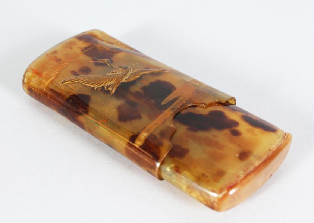 A TORTOISESHELL CIGAR CASE, decorated with birds in