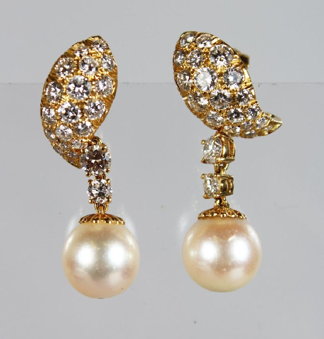 A SUPERB PAIR OF 18ct GOLD DIAMOND AND PEARL EAR CLIPS