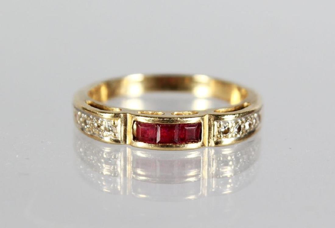 A 14ct GOLD RUBY AND DIAMOND RING