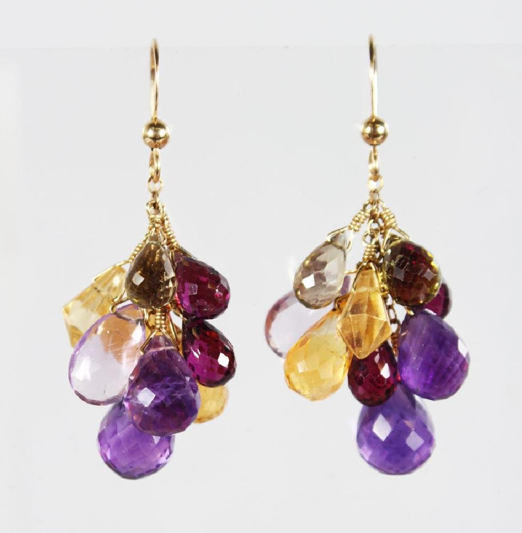 A PAIR OF MULTI COLOURED GLASS DROP EARRINGS