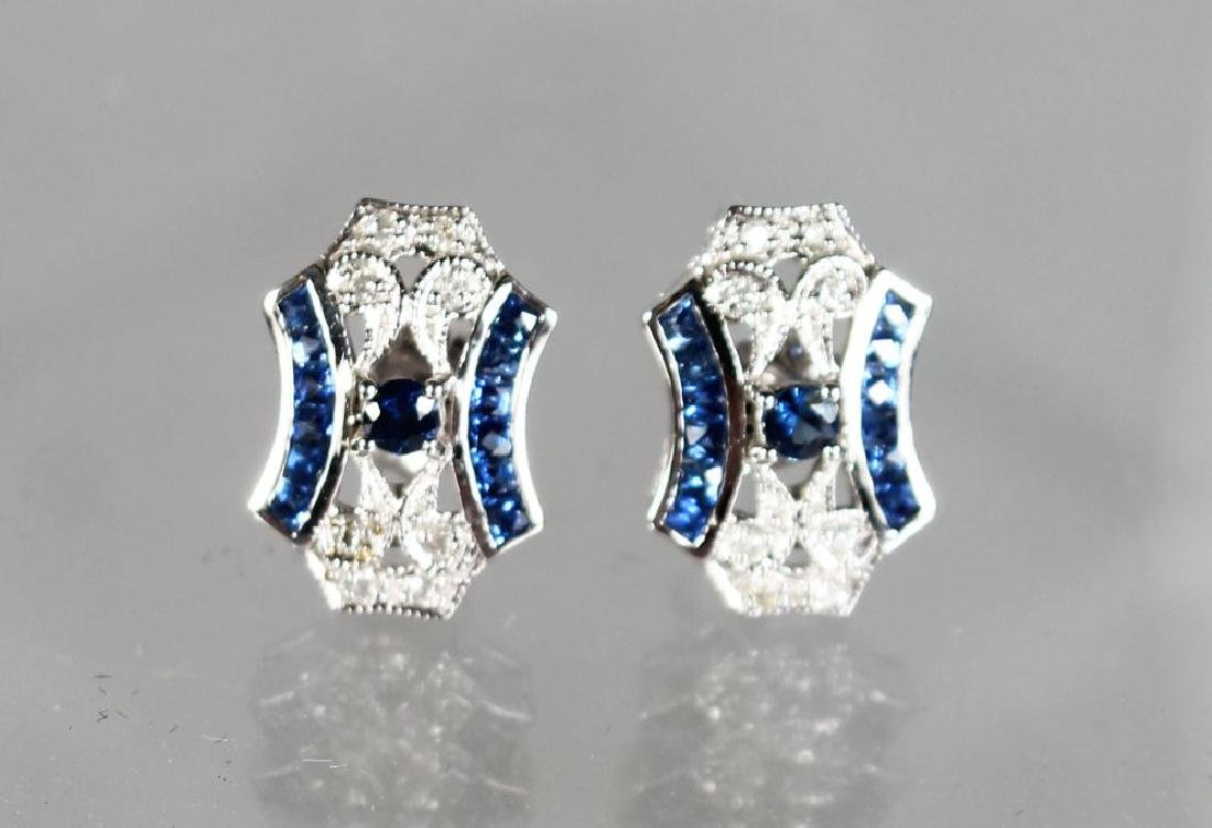 A PAIR OF 9ct GOLD SAPPHIRE AND DIAMOND ART DECO STYLE