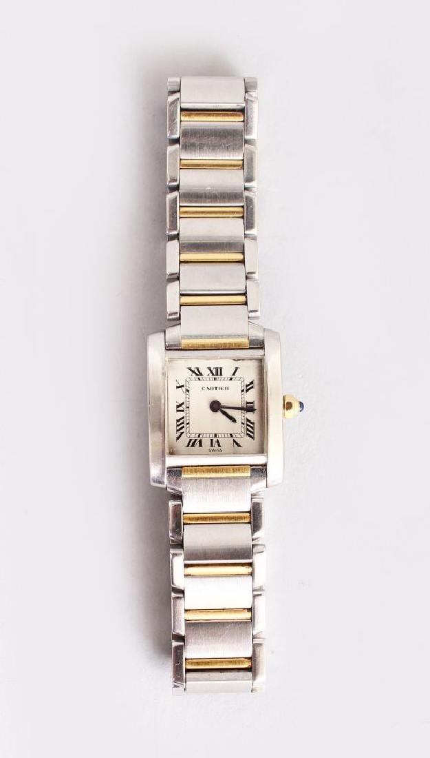 A CARTIER LADIES STAINLESS STEEL WRISTWATCH, with