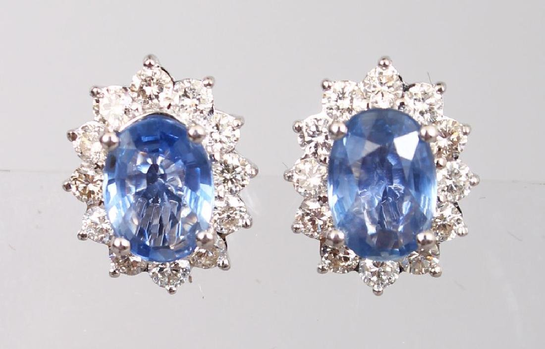 A PAIR OF 18CT WHITE GOLD, SAPPHIRE AND DIAMOND CLUSTER