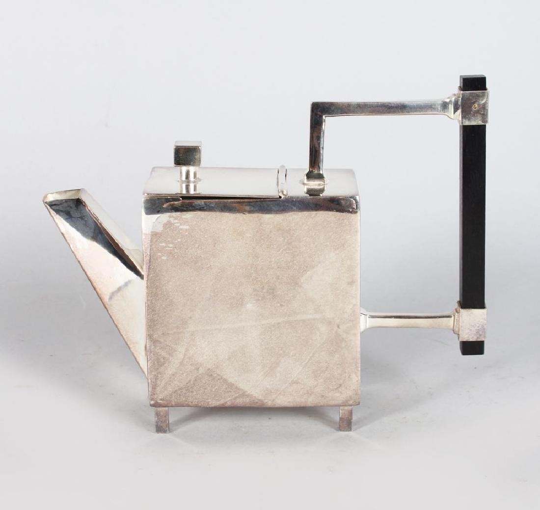 A CHRISTOPHER DRESSER STYLE SQUARE TEAPOT, with ebony