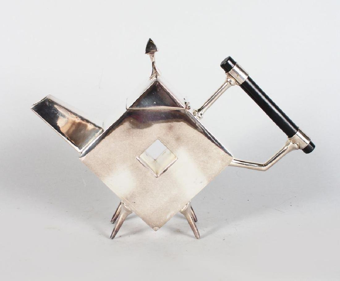 A CHRISTOPHER DRESSER STYLE DIAMOND SHAPED TEAPOT, with