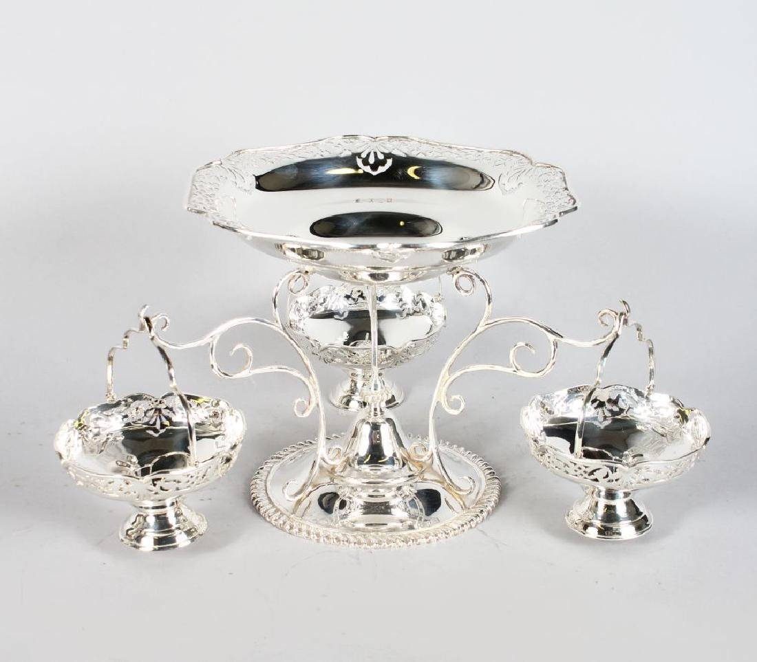 A PLATED EPERGNE WITH THREE HANGING DISHES