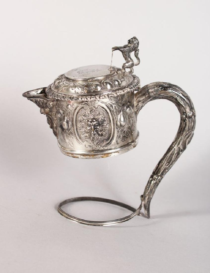 A VICTORIAN SILVER CLARET JUG HANDLE AND MOUNT, London,