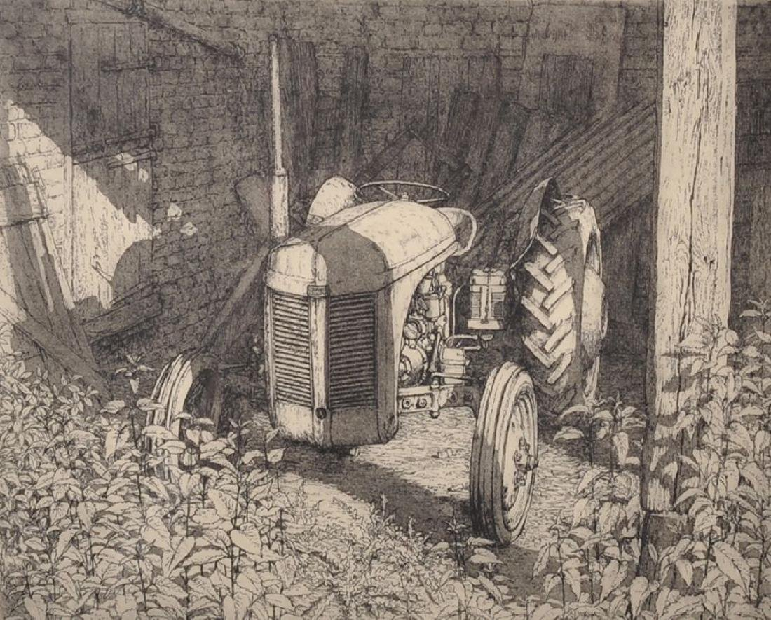 N...Ward (20th Century) British. A Tractor in a Barn,