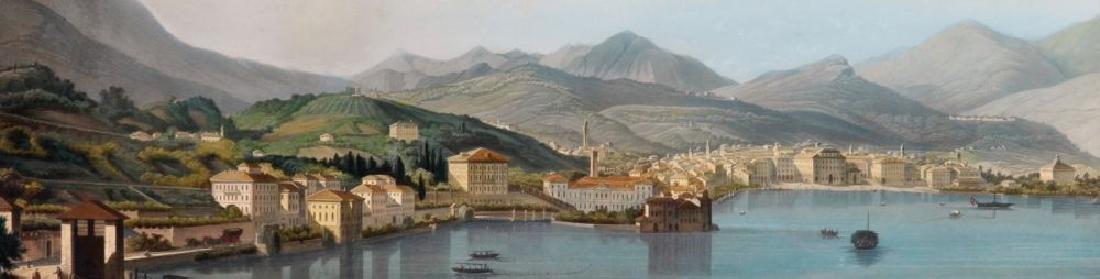 19th Century Swiss School. Panorama of Lakeside Town,