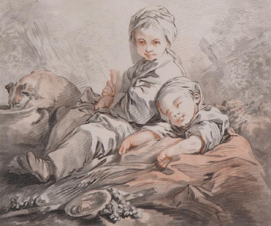 After Francois Boucher (1703-1770) French. Two Children