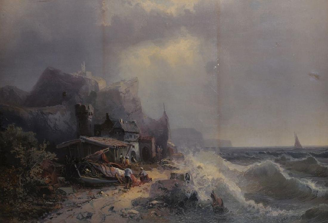 19th Century English School. On the Beach by a Stormy