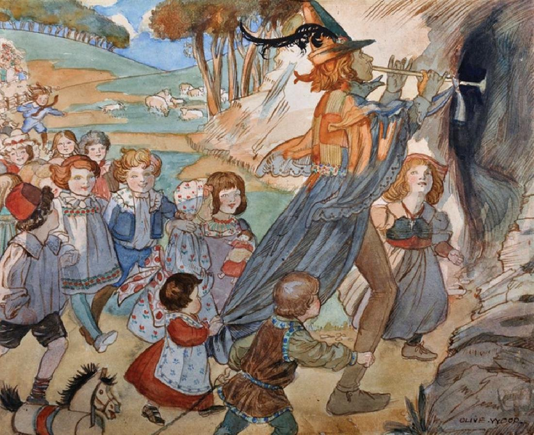 """Olive Wood (20th Century) British. """"The Pied Piper"""","""