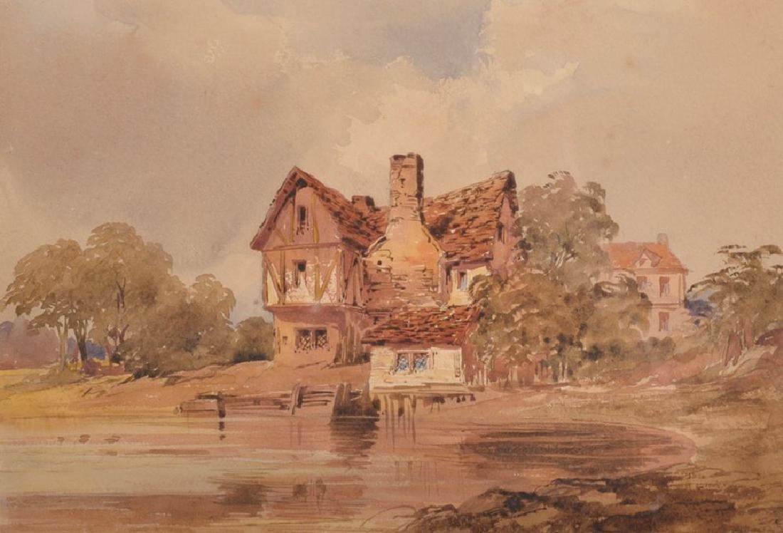 19th Century English School. A Tudor Cottage by a Pond,