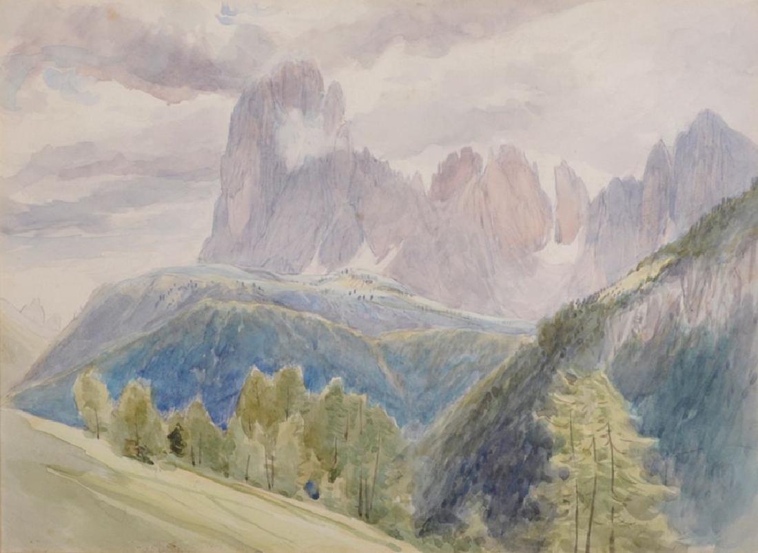 """Maud Herbert (19th Century) British. """"The Langkofel"""