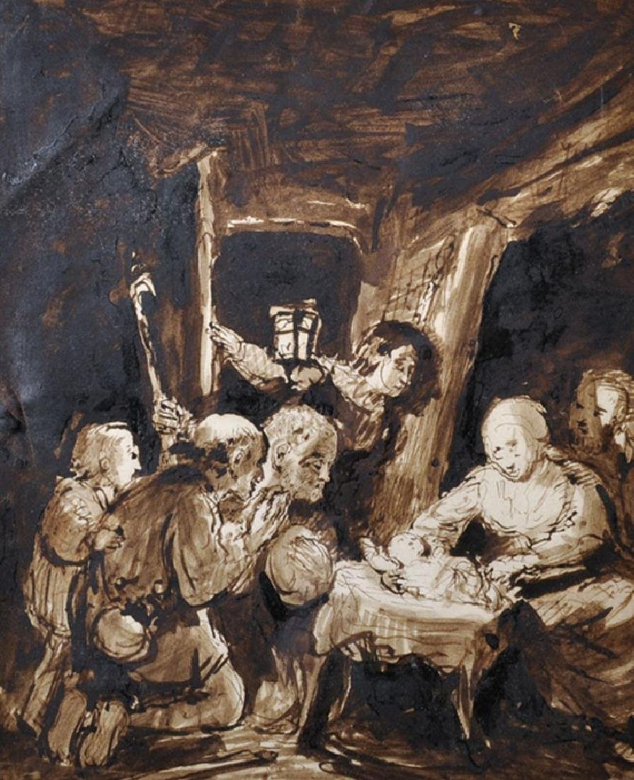 19th Century English School. The Nativity, Ink, Pen and